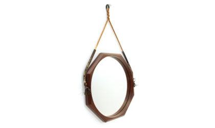 Specchio con cornice ottagonale in legno anni 60, wooden mirror, italian design, mid-century modern, 50s, teak, ico parisi, cassina, isa