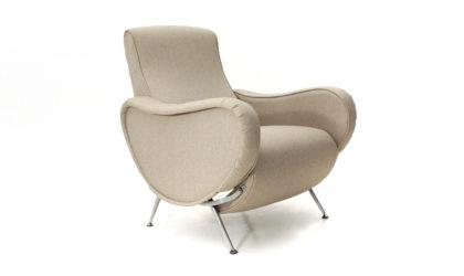 Poltrona reclinabile con gambe in metallo cromato anni 70, recliner armchair, italian design, mid-century modern, 70s, marco zanuso, arflex