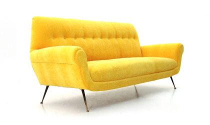 Divano 3 posti in velluto giallo anni 50, yellow velvet sofa, italian design, mid-century modern, 50s, gigi radice, minotti