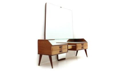 toeletta con cassetti e specchio anni 50, vanity desk, italian design, mid-century modern, 50s, brass, mirror, drawers