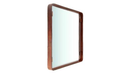 Specchio quadrato con cornice in pelle anni 60, leather frame mirror, italian design, mid-century modern, 60s, teak, vintage