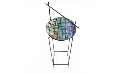 Portaoggetti con piatto in metallo smaltato anni 60, pocket emptier, italian design, mid-century modern, 60s, siva, del campo, paolo de poli