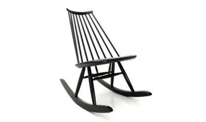 Sedia a dondolo 'Mademoiselle' di Ilmari Tapiovaara per Artek anni '50, rocking chair, 50s, mid-century modern, Finnish design, vintage, black