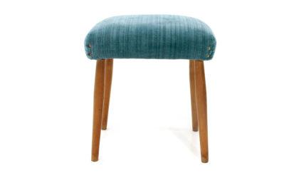Pouf in velluto azzurro anni '50, stool, 50s, mid-century modern, italian design, vintage