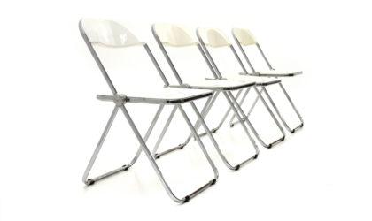 4 sedie 'Plia' di Giancarlo Piretti per Anonima Castelli anni '60, chairs, 60s, mid-century modern, italian, plastic, white, bianche
