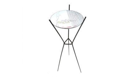 Ciotola in metallo smaltato con stand Siva anni 50, enameled metal bowl, italian design, mid-century modern, del campo, de poli