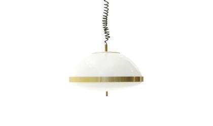 Lampadario in metacrilato ed ottone anni 70, chandelier, pendant lamp, italian design, mid-century modern, 70s, white, brass