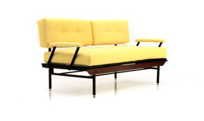 Divano letto in tessuto giallo anni 50, sofa bed, italian design, mid-century modern, 50s, yellow,vintage