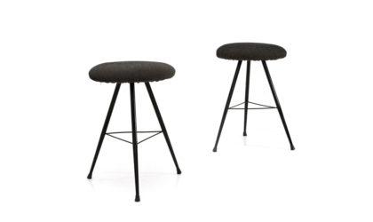 coppia di sgabelli anni 50, stool, italian design, mid-century modern, 50s,vintage, black
