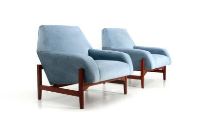 coppia di poltrone in velluto celeste di Attilio Allievi per Gilberto Cassina anni 50, armchairs, italian design, mid-century modern, 50s, vintage, azure velvet