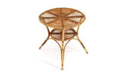 Tavolino rotondo in vimini anni 60, coffee table, italian design, mid-century modern, 60s, vintage,rattan