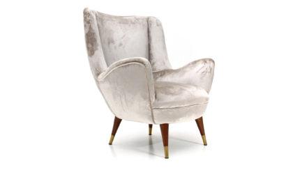 Poltrona in velluto argento con gambe coniche anni '50, velvet armchair, italian design, 50s, mid-century modern, cassina, silver, gio ponti