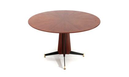 Tavolo con piano tondo e dettagli in ottone anni '50, dining table, italian, midcentury modern, paolo buffa, melchiorre bega, Ignazio gardella