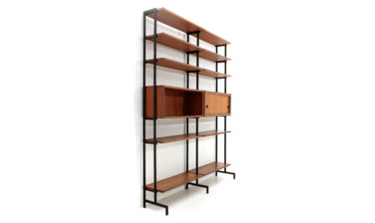 Libreria a due moduli in teak e metallo anni '50, wall unit, Italian design, midcentury modern, bookcase, ico parisi