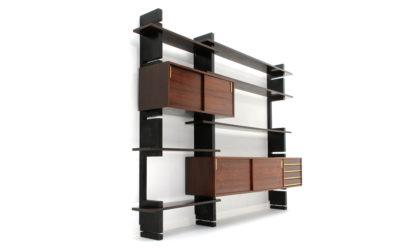 Libreria 'Exstenso' con montanti neri della Amma anni '60, wall unit, Italian design, midcentury modern, bookcase, black, 60s