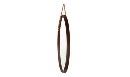 Specchio Con Cornice In Legno ovale anni '60, mirror, wood, modernist, italian, midcentury modern, oval, teak