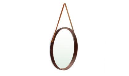 Specchio Con Cornice In Legno rotondo anni '60, mirror, wood, modernist, italian, midcentury modern, oval, teak