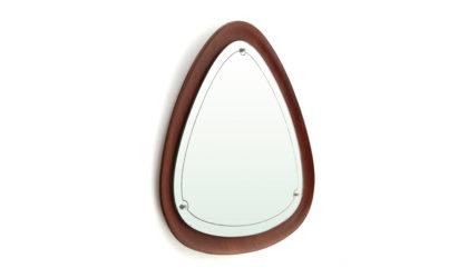 Specchio Con Cornice In multistrato curvato anni '60, mirror, plywood, modernist, italian, midcentury modern, triangolar, teak