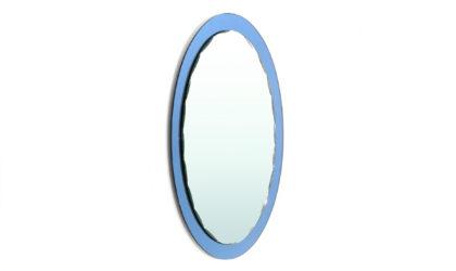 Specchio con cornice in specchio azzurro anni '70, mirror, italian, midcentury modern, cristal art, antonio lupi, fontana arte