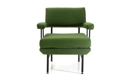 Poltrona in metallo e tessuto verde anni '50, armchair, Italian design, midcentury modern,green, 50s, metal