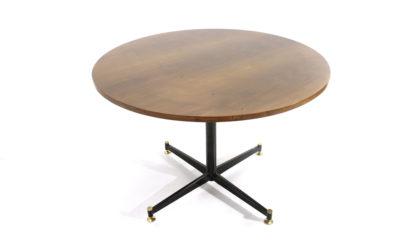 Tavolo circolare con piano in legno anni '50, dining table, Italian design, midcentury modern, 50s, wood, metal, ignazio gardella, azucena