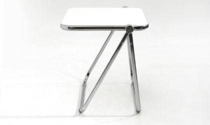 Scrivania pieghevole Platone bianca di Giancarlo Piretti per Anonima Castelli anni '60, desk table, Italian design, midcentury modern, 70s, space age