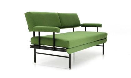 Divano letto in metallo e tessuto verde anni '50, sofa bed, Italian design, midcentury modern,green, 50s, metal