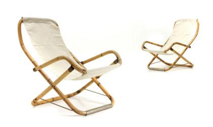Coppia di sdraio in bamboo e tessuto bianco anni '50, white bamboo deckchairs, Italian design, midcentury modern, 50s, rattan, bonacina, dal vera, boutique gemma