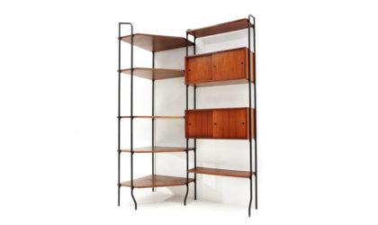 Libreria Amma modello Aedes anni '50, mid century wall unit, bookcase, teak, italian modern design, wood, black, 50's, 60's