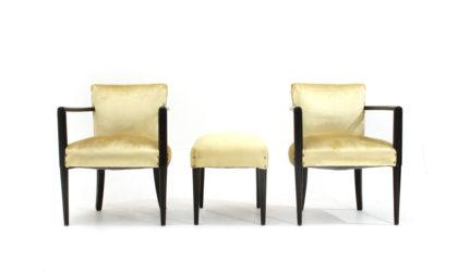 Coppia di poltroncine con pouf in velluto anni '40, mid century armchairs, italian modern design, 40's, 50', decò