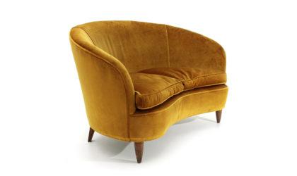 Divano Curvo in velluto color ocra anni '30, mid century sofa, italian modern design, art decò, guglielmo ulrich