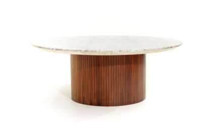 Tavolino con piano circolare in marmo di Umberto Brandigi anni 60, coffee table, wood, marble, italian modern design, 60's