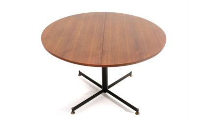 Tavolo circolare in teak estendibile anni 60, dining table, teak, metal, italian modern design, 60's, ignazio gardella, azucena.