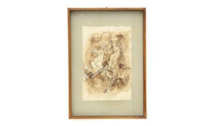 Quadro acquarello color seppia 'Cavalli' di Giorgio Mariani anni '60, vintage, watercolor, italian painting, albisola, liguria