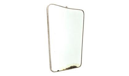 Specchio con cornice in ottone cromato anni '50, vintage, mirror, italian design, fontana arte, gio ponti