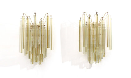 Coppia di applique Trilobi marchiate Venini anni '60, vintage, italian design, floor lamp, murano glass, sconces, 60s