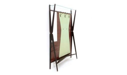 Appendiabiti da ingresso con specchio e portaombrelli anni '50, coat hanger , mid-century modern, 50s, wood, italian design, mirror, umbrella stand