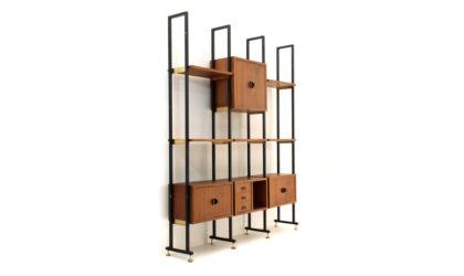 Libreria modulare in metallo e teak anni '60, wall unit, mid-century modern, 60s, metal, italian design, franco albini