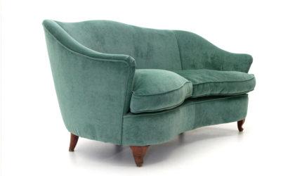 Divano due posti curvo in velluto verde anni '50, curved sofa, 50's, italian, mid century, gio ponti, casa e giardino