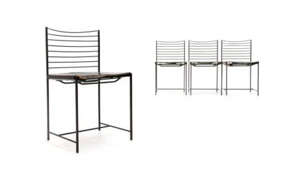 4 sedie in metallo e pelle nera di Cidue anni '80, mid-century modern, 80s, italian design,black , spaghetti