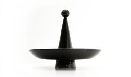 Centrotavola portafrutta in ceramica nera anni '60, fruit bowl centerpiece, mid-century modern, 60s, brambilla, mangiarotti, pozzi, gabbianelli, italian design,