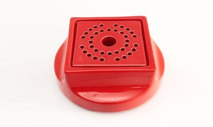 Centrotavola portafiori in ceramica rossa di studio Opi per Gabbianelli anni '60, flower vase centerpiece, mid-century modern, 60s, red glazed ceramic