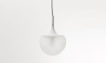 Lampadario bianco di Elio Martinelli per Martinelli anni '60, pendant lamp, mid-century modern, 60s, space age, white, glass, chandelier