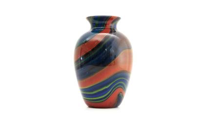 Vaso 'Mercurio' di Ottavio Missoni per Artevetro Murano anni 80, glass vase, postmodern, italian design, colored, blue, venini, barovier, sottsass