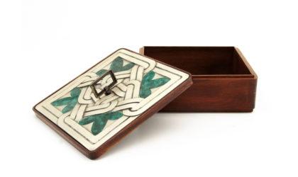 Scatola quadrata in legno con tappo in argento di Ottaviani anni '70, jewlery box, wood, silver, italian, decoration, 70s