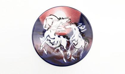 Piatto in ceramica di Eliseo Salino, san giorgio di Albisola anni '70, 70s, ceramic plate, jorn, lam, fontana, moizo, mazzotti
