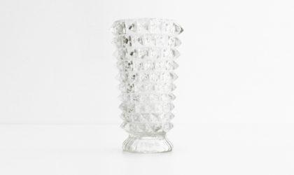 Vaso in vetro rostrato anni '30, vase, murano, barovier e toso, italian design, art decò, soffiato a mano, gio ponti