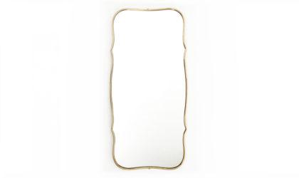 Specchio con cornice in ottone anni '50, brass mirror, 50s, gio ponti, italian design, laiton miroir, vintage, mid-century modern
