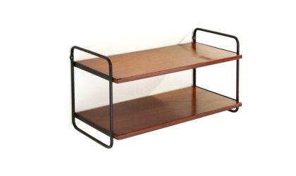 Piccola libreria mensile in teak e metallo anni '60, shelves, mid-century modern, 60s, wood, italian design, string