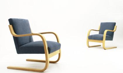 Coppia di poltrone '402' Di Alvar Aalto Per Artek anni 70, nordic design, finnish, mid-centuy modern, modernist, armchairs, rationalism